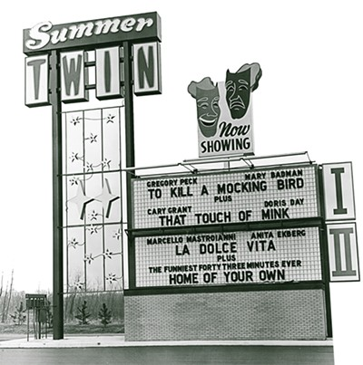 The 1962 marquee for the Summer Twin Drive-In in Memphis
