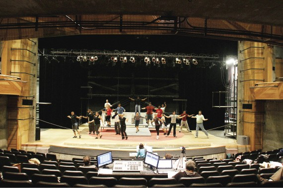 "The cast of ""Pippin"" rehearses in Playhouse on the Square's new facility in Midtown."