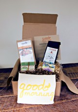 """The """"Good Morning"""" Memphis Batch box, featuring locally made granola, waffle mix, coffee, and soap."""
