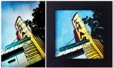 The Lamar theater photograph (left) by Jeremy Greene and painting (right) by Rebecca Phillips