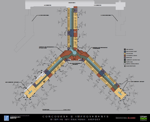 The new floor plan shows what the airport would look like without the south ends of concourses A and C.