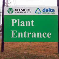 The new Velsicol sign mentions Delta Recycling, which has begun operation on the former plant site.