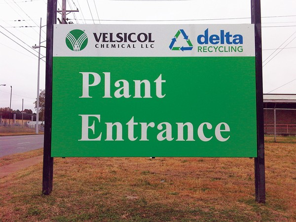 The new Velsicol sign mentions Delta Recycling, which has begun operation on the former plant site. - GEORGE HARVELL