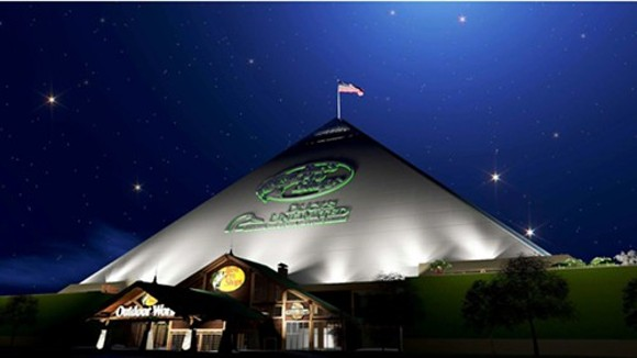 The south-facing view of the new Bass Pro Shops at the Pyramid. - BASS PRO SHOPS