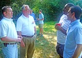 JB - The Tim Cooks, Jr. and Sr. (left) chat up Repubican voters at Kirby Farms on Saturday.