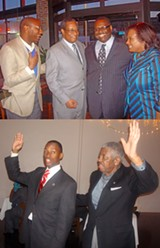JB - The two candidates to become Democratic Party chairman stayed busy this eweek organizng their support groups for Satuday's party caucuses. Jay Bailey (top photo, second from right) played host at a Thursday night meet-'n-greet to (l to r) Lee Harris, Julian Bolton, and Mrs. Bailey; On Friday night, Turner (left, bottom photo) and supporter Howard Richardson  exhorted potential voters at a dinner/rally.