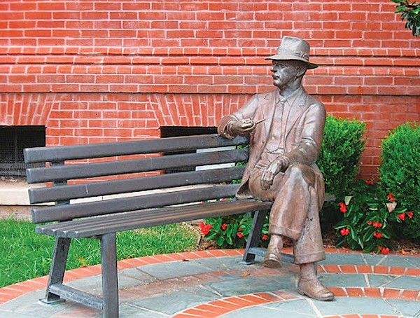 The William Faulkner statue in Oxford sits in front of City Hall.