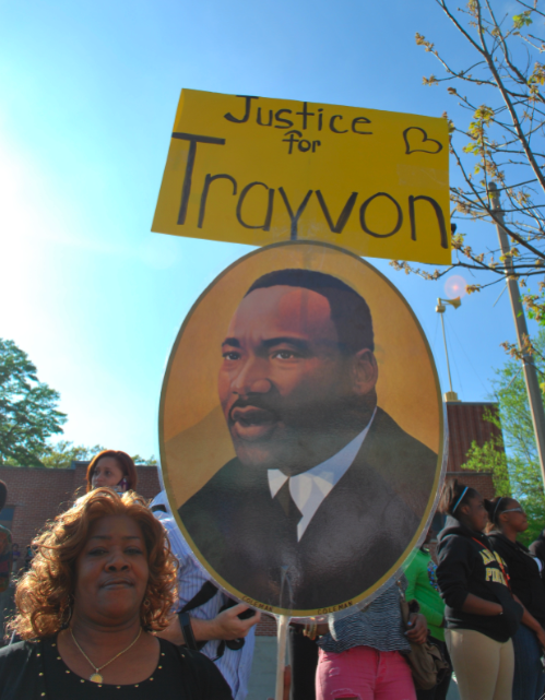There were Justice for Trayvon signs everywhere.