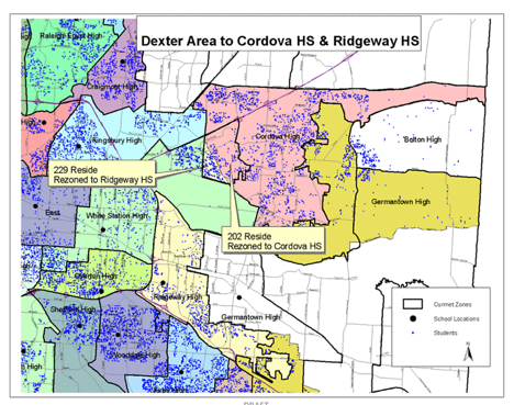 This map shows the zoning changes for students who live in the Dexter area and currently attend Bartlett High School