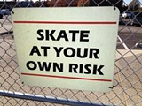 BIANCA PHILLIPS - This sign hangs outside the new city skate park.