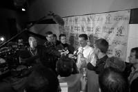 Tiger coach John Calipari addresses the media after his team's first loss of the season. - LARRY KUZNIEWSKI