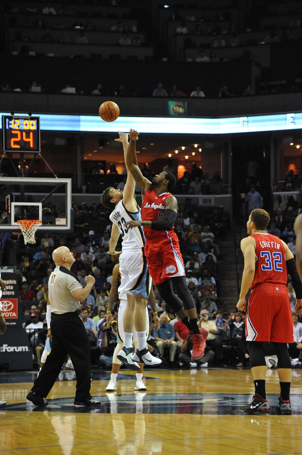 Tipoff! — Marc Gasol and DeAndre Jordan will jump it up on Sunday night.