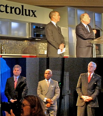 Top: Bredesen and Electroluxs Scott; Bottom: Kisber, Wharton, and Luttrell