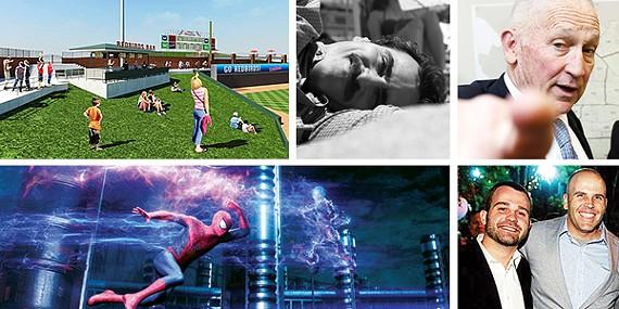 Top row: Auto Zone Park, Her, Buddy Chapman Bottom row:The Amazing Spider-Man 2, Ijpe DeKoe and Thom Kostura