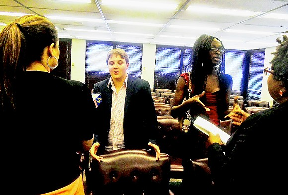 Transgendered witnesses Kal Rocket(left) and Ellyahanna Hall meet with media after Wednesday's committee session. - JB