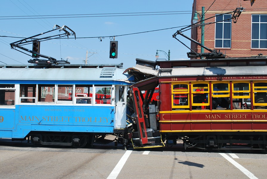 Trolleys collide at Main and Auction Wednesday afternoon.