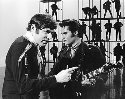 Steve Binder (left) and Elvis Presley on the set of Singer Presents … - PHOTO COURTESY GRACELAND/ELVIS PRESLEY ENTERPRISES