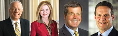 (left to right) Phil Bredesen, Democrat; Marsha Blackburn, Republican; Karl Dean, Democrat; Bill Lee, Republican