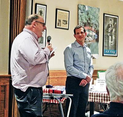 Germantown Democratic president Dave Cambron introduces James Mackler. - JACKSON BAKER