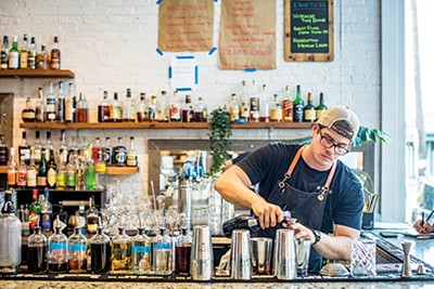 Bar 409 is bright and airy — and well-stocked with makings for fine cocktails.