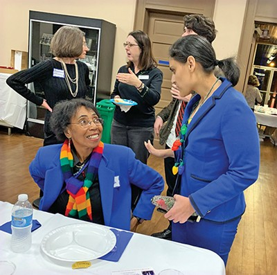 District 97 Candidate Gabby Salinas (r)shmoozes with voter Sherry Compton; Another District 97 hopeful, Allan Creasy, chats up Norma Lester - JACKSON BAKER