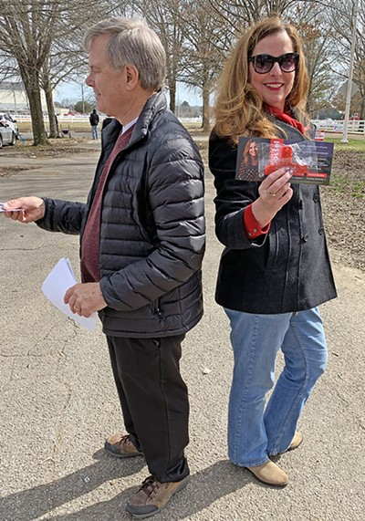 Like duellists, potential general election opponents in House District 96, Dwayne Thompson, Democrat, and Patti Possel, Republican, stood back to back and handed out literature at the AgriCenter during the recently ended Early Voting period.