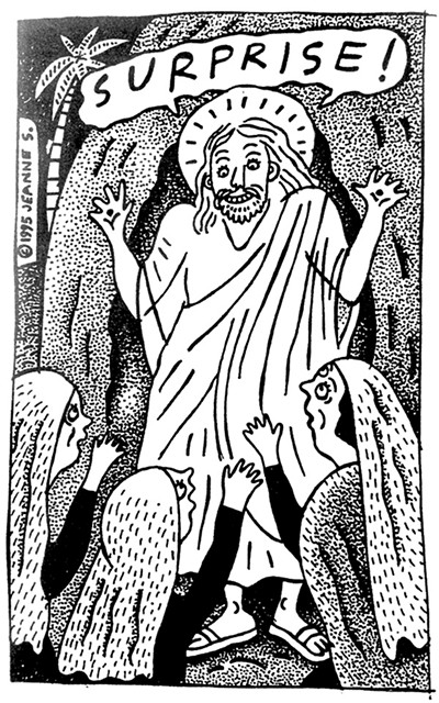 """Surprise! Jesus Had a Keen Sense - of Humor,"" News of the Weird illustration for the ""Memphis Flyer"" - JEANNE SEAGLE"