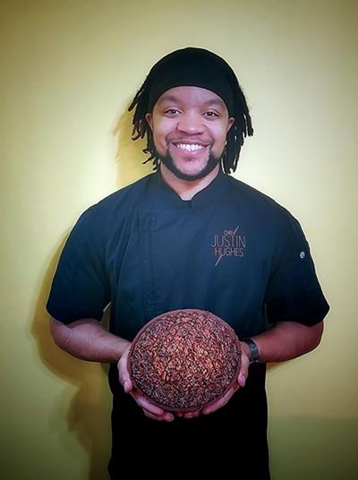Chef Justin Hughes with his - chocolate pecan pie - KIARA HUGHES
