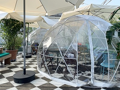 Geodomes on the back patio of - The Beauty Shop - SAMUEL X. CICCI