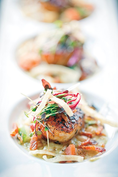 the Seared Sea Scallops - JUSTIN FOX BURKS