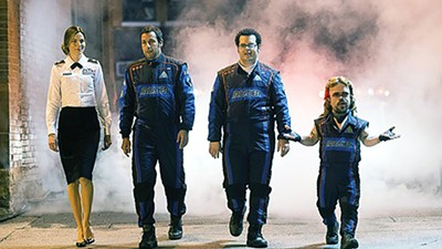 Michelle Monaghan, Adam Sandler, Josh Gad, and Peter Dinklage in Pixels