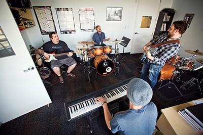 Percussion faculty head Simon Alexander leads a jam session - JUSTIN FOX BURKS