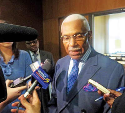 Mayor Wharton faces a press scrum about Lipscomb matter - JACKSON BAKER