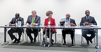 Debates have been a constant feature of the mayoral race. Here five candidates do last-minute cramming for an environmental forum. - ßL to R: Harold Collins, Jim Strickland, Sharon Webb, A C Wharton, and Mike Williams - JACKSON BAKER