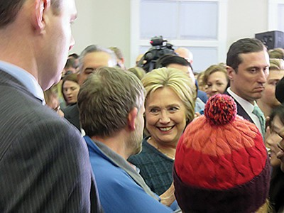 Hillary Clinton among the crowd at Henniker