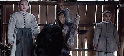 Ellie Grainger, Black Phillip the Satanic goat, and Lucas Dawson struggle to survive.