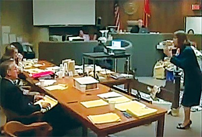 Screenshot from video of the Jackson trial