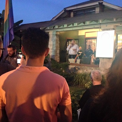 Mayor Strickland speaks to crowd. - MAYOR JIM STRICKLAND