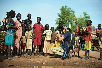 Director of photography Josh Boyd photographs children in South Sudan