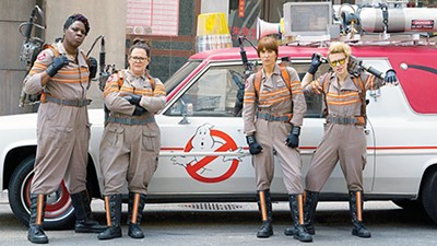 Leslie Jones, Melissa McCarthy, Kristen Wiig, and Kate McKinnon don the proton packs in Paul Feig's remake of Ghostbusters.