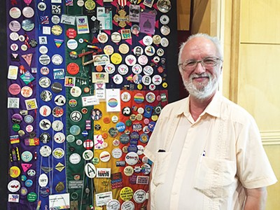 Vincent Astor with his collection of LGBTQ buttons - BIANCA PHILLIPS