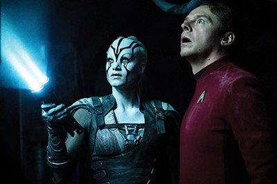 Sofia Boutella (left) as Jayla and Simon Pegg as Scotty in Star Trek Beyond