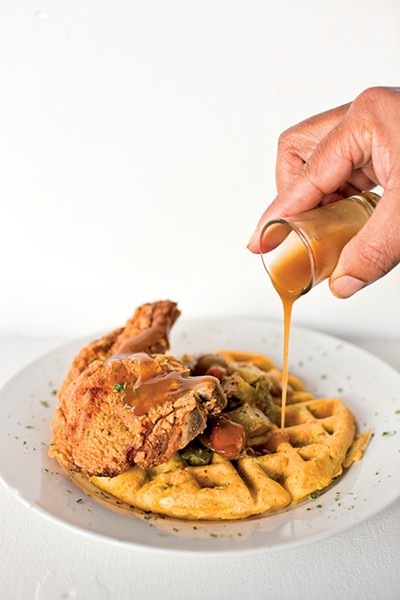 Chicken and waffles at The HM Dessert Lounge - JUSTIN FOX BURKS