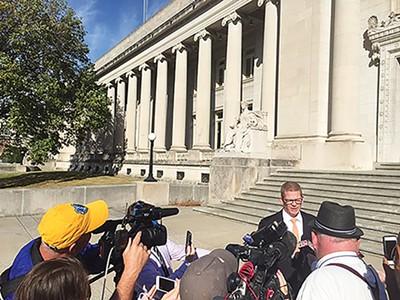 Just City's Josh Spickler speaks to the press last week. - TOBY SELLS