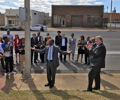 Retiring Blue Cross-Blue shield exec Calvin Anderson, here at a ceremony naming a street for him, will be a cog in the 2018 Democratic gubernatorial campaign. - JACKSON BAKER