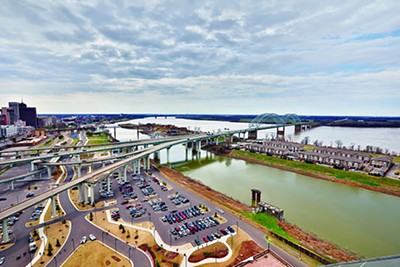 A view of the riverfront - looking South from Bass Pro Shops at the Pyramid - JUSTIN FOX BURKS