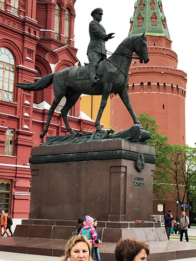 Marshal Zhukov, the conqueror of Berlin, in front of the Russian Historical Museum