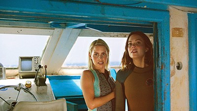 Claire Holt (left) and Mandy Moore play a pair of sisters struggling to survive in shark-infested waters.
