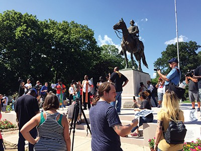 Crowds gathered in Health Sciences park to advocate for the removal of the statue of Nathan Bedford Forrest.