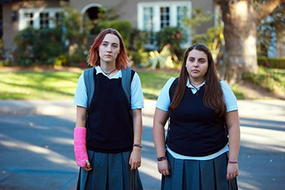 Saoirse Ronan (left) and Beanie Feldstein star in Greta Gerwig's directorial debut, Lady Bird.